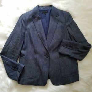 Talbots Dark Blue Chambray Linen One Button Blazer